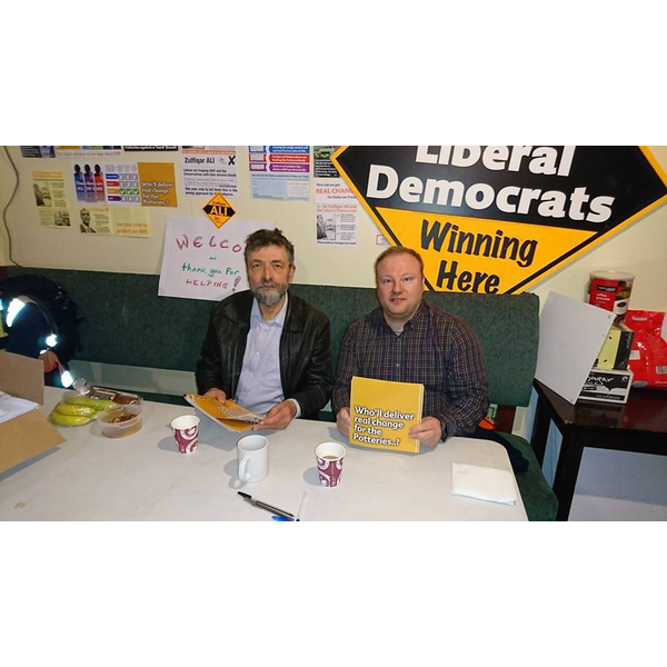 L-R Leicester Liberal Democrats Alan Fox, and Scott Kennedy-Lount pictured after a day's campaigning at the Stoke on Trent Central Parliamentary By-Election