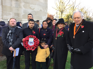 Leicester Liberal Democrats prior to laying a wreath at the Imperial Arch Memorial in Victoria Park