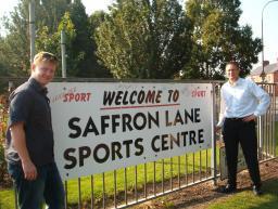 Freemen Councillor Dale Keeling with Focus Editor Robin Webber-Jones at Saffron Lane Sports Centre