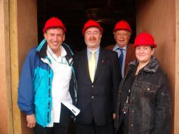 Right: The Leader of Newcastle City Council joins Castle Ward Cllr Debbie Almey and Cllr Roger Blackmore with Cllr Andy Metcalfe to see the final touches to building work at the Dawn Centre.