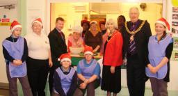 Lord Mayor with Mayoress, Cllr. Dale Keeling, Luncheon Club members and Samworth Academy children