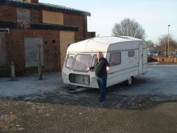 Scott Kennedy Lount with the dumped caravan