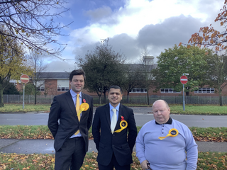 Chris Coghlan, Nitesh Dave and Ian Bradwell. Liberal Democrats PPC's in Leicester's South, East and West Parliamentary Constituencies