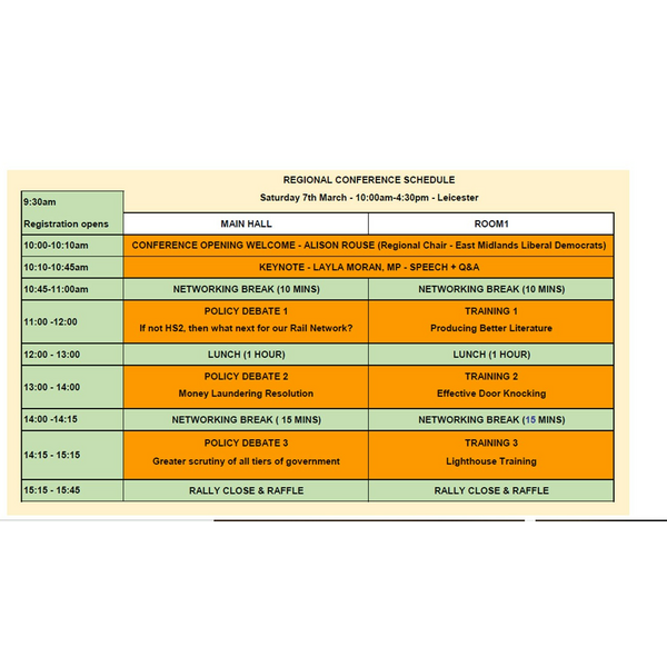 Timetable for Regional Conference 07.03.2020