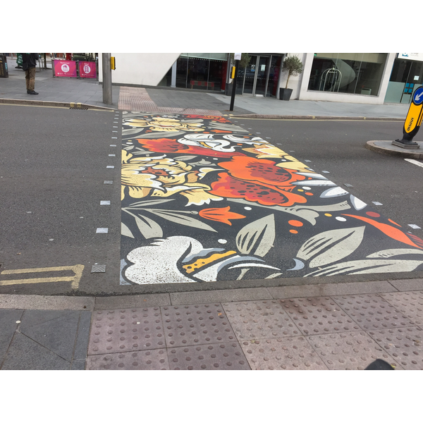 One of the two crossings repainted on Charles Street, Leicester