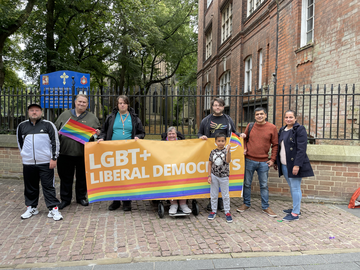Liberal Democrats from across Leicestershire stand before the Leicester Pride Parade around the city centre (Scott Kennedy-Lount)